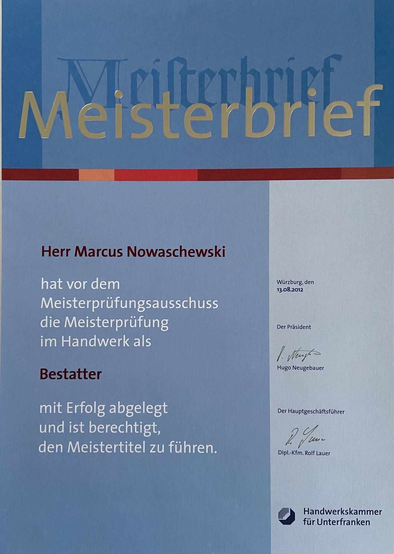 Meisterbrief Marcus