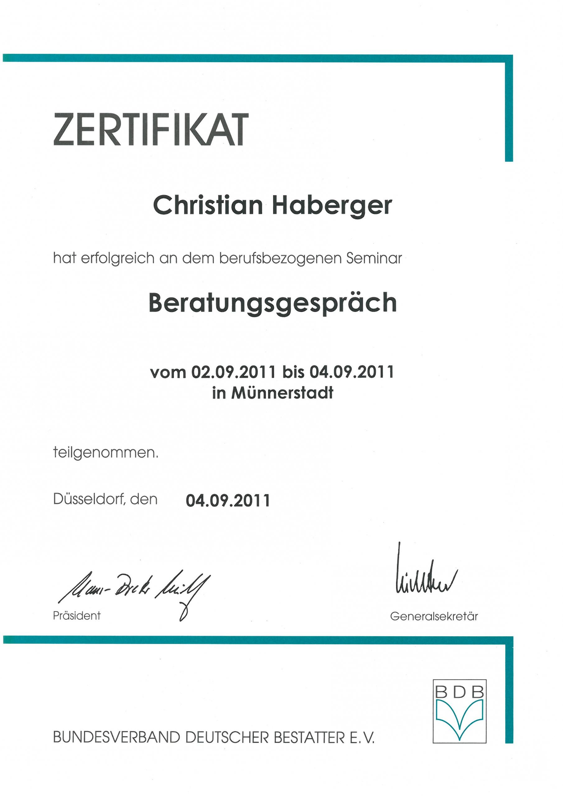 Zertifikat Ch Beratungsgespräch 2011