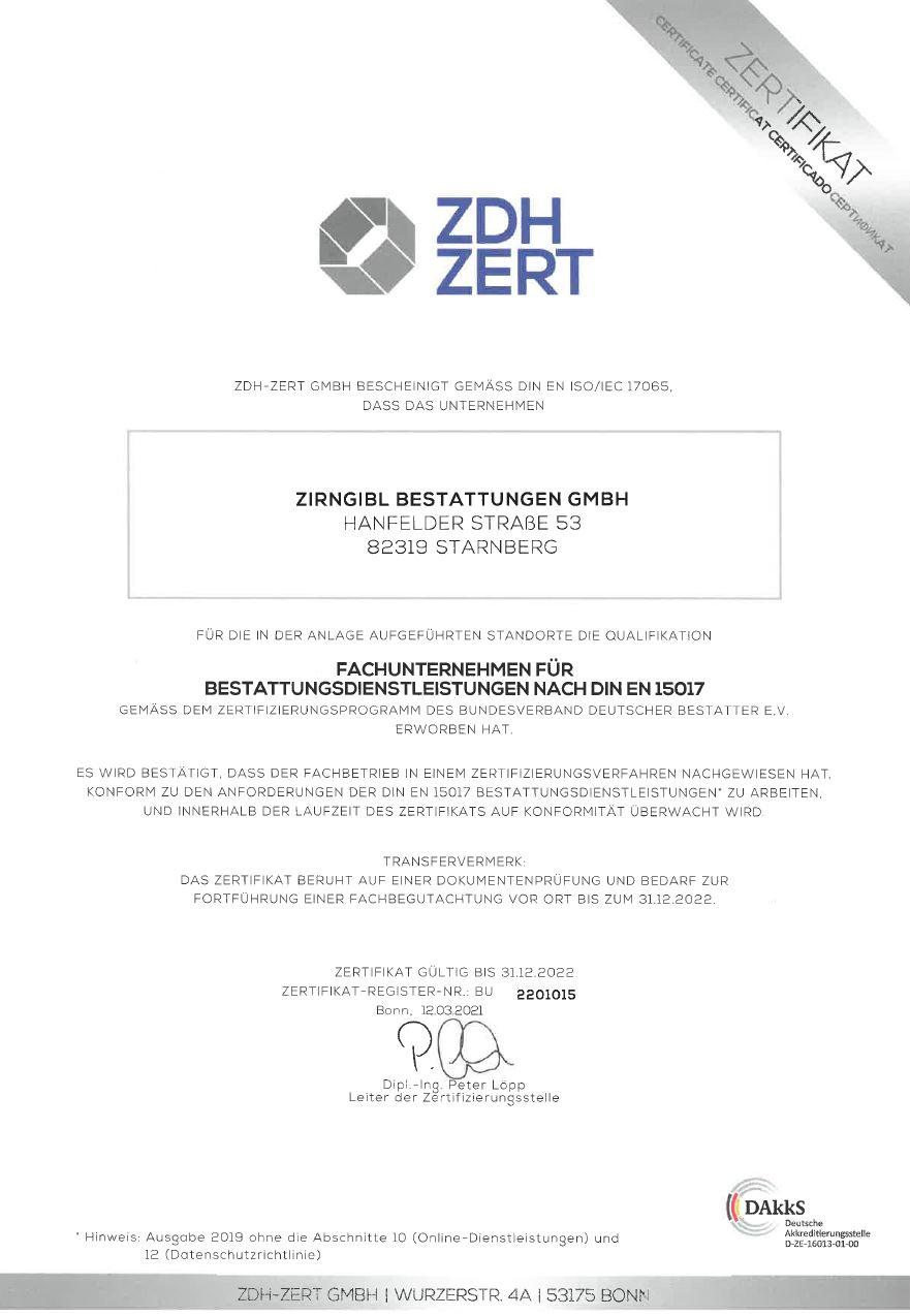 Zertifikat Din En 15017 Bis 31.12.2022